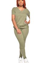 Light Green Casual Polyester Short Sleeve V Neck Ruffle Tee Top Long Pants Sets CN0041
