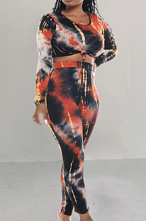 Casual Sporty Polyester Tie Dye Long Sleeve Round Neck Longline Top Long Pants Sets TRS980