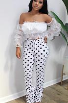 White Casual Polyester Polka Dot Off Shoulder Ruffle Utility Blouse Long Pants Sets BS1219