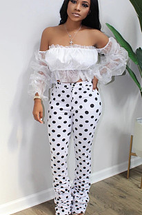 White Casual Polyester Polka Dot Off Shoulder Ruffle Utility Blouse Long Pants Sets BS1219