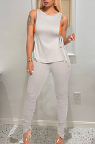 Sexy Polyester Pure Color Sleeveless Belted Side Ruffle Tee Top Sets  TRS1059