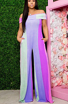 Purple Casual Polyester Striped Sleeveless Tube Jumpsuit N9222