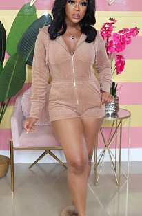 Khaki Casual Polyester Long Sleeve Bodycon Jumpsuit N9227