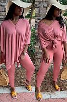 Orange Casual Polyester Short Sleeve Split Hem Tee Top Long Pants Sets TZ1128