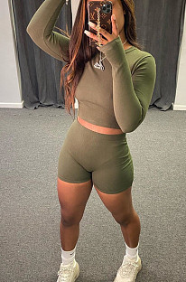 Army Green Casual Polyester Long Sleeve Round Neck Tee Top Shorts Sets C3013