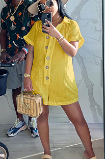 Yellow Casual Polyester Short Sleeve Buttoned Ruffle Romper AL109