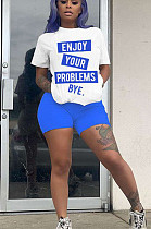 Blue Casual Polyester Letter Short Sleeve Round Neck Tee Top Shorts Sets MN8209