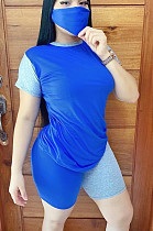 Blue Casual Cotton Short Sleeve Round Neck Spliced Tee Top Shorts Sets MN8301