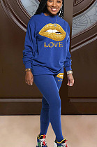 Blue Casual Polyester Mouth Graphic Long Sleeve Round Neck Tee Top Long Pants Sets LD8776