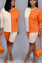 Orange Casual Polyester Long Sleeve Round Neck Spliced Tee Top Shorts Sets LD8635