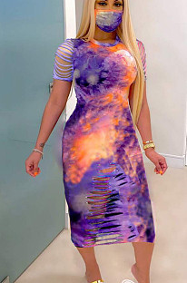 Purple Casual Polyester Tie Dye Short Sleeve Round Neck High Waist Long Dress MN8300