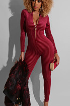 Wine Red Sexy Polyester Long Sleeve Bodycon Jumpsuit RB3048