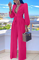 Rose Red Sexy Polyester Half Sleeve Buttoned Waist Tie Ruffle Overall Jumpsuit OMY8074