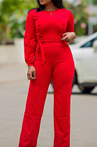 Modest Polyester Pure Color Long Sleeve Round Neck Button Front Waist Tie Culottes Jumpsuit T3397H