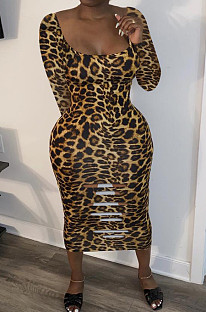 Sexy Polyester Leopard Long Sleeve Ripped Mid Waist Long Dress HM5357