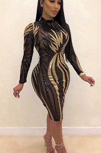 Black Sexy Polyester Long Sleeve Round Neck Spliced Long Dress CCY8201