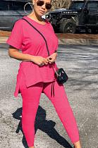 Розовая повседневная футболка из полиэстера с коротким рукавом и круглым вырезом с разрезом по низу, длинные брюки, комплекты ML7359