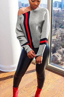 Светло-серая повседневная функциональная блузка из полиэстера с длинным рукавом и круглым вырезом ML7134