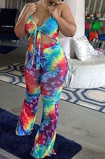 Casual polyester tie-dye mouwloze halternek zelfgordelde cami-jumpsuit met ritssluiting op de rug T3353H