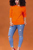 Orange Casual Polyester Long Sleeve Round Neck Tee Top ML7350