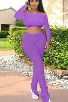 Purple Casual Polyester Long Sleeve Utility Blouse Flare Leg Pants Sets SN3858