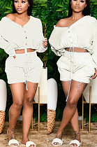 White Casual Polyester Long Sleeve Buttoned Knotted Strap Utility Blouse Shorts Sets SN3861