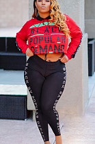 Red Casual Polyester Letter Long Sleeve Hoodie Long Pants Sets SN3853