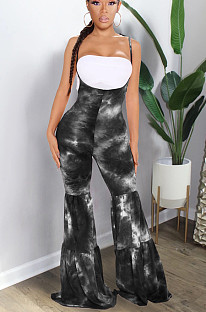 Black Casual Polyester Tie Dye Ruffle Mid Waist Flare Leg Pants GL6295