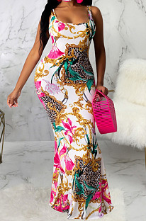 Casual Polyester Sleeveless Round Neck Flounce All Over Print Long Dress SMR9671
