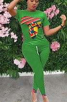 Fluorescerende groene casual polyester korte mouw ronde hals T-shirt lange broek sets YYF8123
