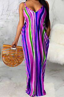 Casual Polyester Striped Sleeveless V Neck Slant Pocket Long Dress SMR9669