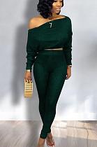 Green Casual Polyester Long Sleeve Utility Blouse Long Pants Sets HM5261