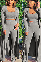 Grey Casual Polyester Long Sleeve Utility Blouse Long Pants Sets SN403