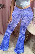 Blauwe casual polyester stropdas kleurstof hoge taille flare been broek HY5169