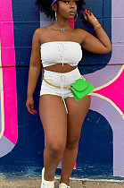 White Sexy Polyester Sleeveless Knotted Strap Bandeau Bra Shorts Sets YYF8114