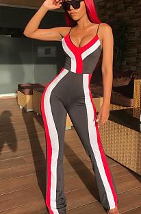 Roter sexy gestreifter ärmelloser Cami-Overall aus Polyester HHM6143