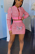 Red Casual Polyester Plaid Long Sleeve Utility Blouse Above Knee / Short Skirt Sets LMM8177