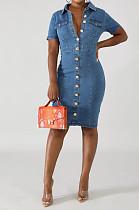 فستان كاجوال قطن قصير الأكمام طية صدر السترة وأزرار أمامية صغيرة JLX6026