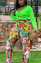 Green Sexy Polyester Floral Long Sleeve Utility Blouse Long Pants Sets EF20638
