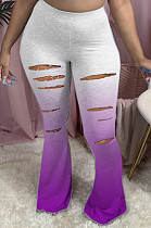 Purple Casual Polyester Ripped Mid Waist Flare Leg Pants HG039