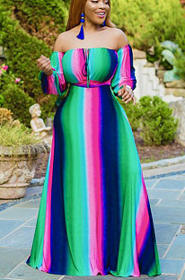 Multicolor Casual Polyester Striped Long Sleeve Long Dress CCY1180