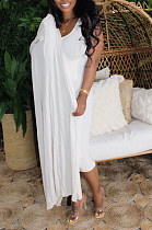 Casual Cotton Blend Round Neck Longline Top Bodycon Skirt Sets MTY6361