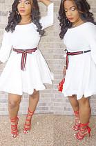 فستان أبيض كاجوال من البوليستر بأكمام طويلة وربطة عنق A Line HG5115
