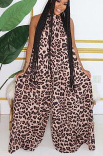 Sexy polyester luipaard mouwloze backless tank jumpsuit K2006