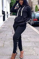 Black Casual Polyester Long Sleeve Hoodie Long Pants Sets BM7016