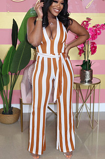 Light Yellow Sexy Polyester Striped Sleeveless Deep V Neck Waist Tie Tank Jumpsuit SMD5006
