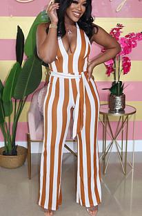 Hellgelber sexy Polyester gestreifter ärmelloser Jumpsuit mit tiefem V-Ausschnitt und tiefem V-Ausschnitt SMD5006