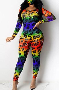 Lässiger Bodycon-Jumpsuit aus Polyester-Leopard mit langen Ärmeln und rundem Hals Q664