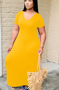Yellow Casual Polyester Short Sleeve V Neck Long Dress YT3205