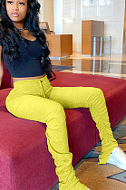 Gele casual polyester brief ruches flare been broek LY5859